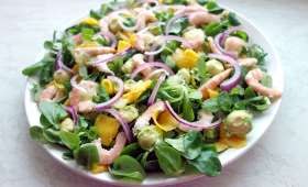 Salade de mâche avocat et crevettes - Simple & Gourmand