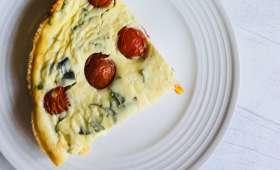 Clafoutis de tomates cerises au fromage de chèvre et au basilic