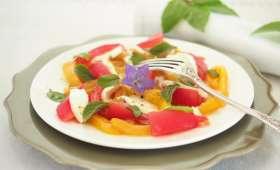 salade de poivrons jaunes marinés au basilic
