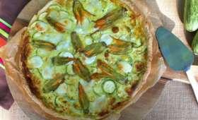Tarte fleurs de courgettes, courgettes et mozzarella