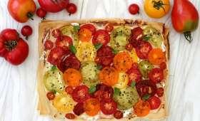 Tarte à la tomate et ricotta sur feuille de brick