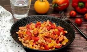 Salade de haricots blancs, chorizo, tomate et poivron