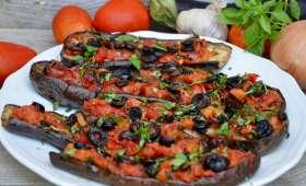Aubergines gratinées aux olives et basilic