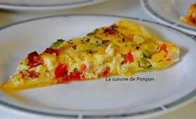 Tarte aux courgettes, poivron, oignon et chorizo