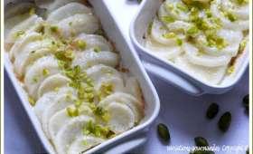 Jeunes navets en gratin (cébettes, parmesan et pistaches)