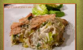 Lasagnes de ravioles aux poireaux et saumon fumé
