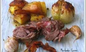 Souris d'Agneau, Pommes de Terre et Oignons au Four