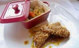 Aiguillettes de canard au soja miel sésame et curry et petite ratatouille printanière