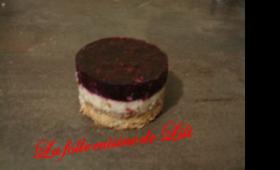 Fruits rouges en gelés, mousse calisson et croustillant au chocolat blanc