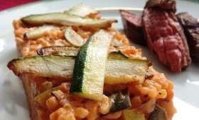 Le risotto de courgettes à la tomate