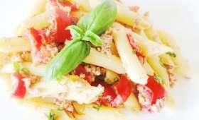 Salade de pâtes au thon tomates basilic