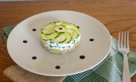 Cheesecake de courgettes au boulgour, faisselle et basilic
