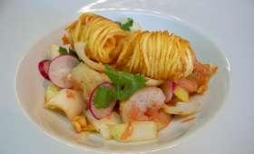 Salade d'endives crevettes et pamplemousse rose