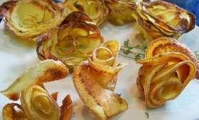 Roses parmentières, chips maison et hambuger