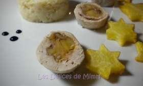 Escalopes de dinde farcies aux noix et aux pommes caramélisées