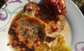 Filets de porc sauce grenade et oignons confits