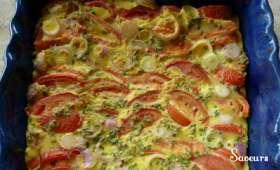 Clafoutis de Tomates et Petits Oignons