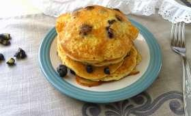 Pancakes aux myrtilles sans oeufs, sans lait et sans gluten