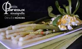Petits poireaux à la vinaigrette moutardée et œuf mimosa