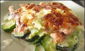 Gratin de courgettes aux ravioles du Dauphiné et au saumon