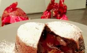 Fondants au chocolat, crème balsam de fraise
