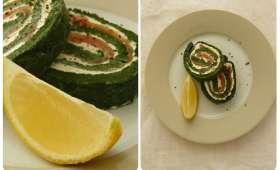 Roulé vert épinard, saumon fumé et fromage frais