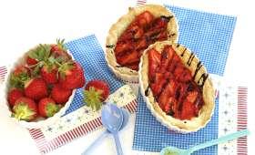 Tartelettes aux fraises à l'orange amère et sirop de balsamique