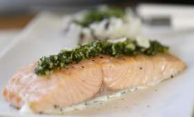 Saumon basse température au pesto d'aneth