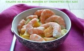 Salade au melon, mangue et crevettes des îles