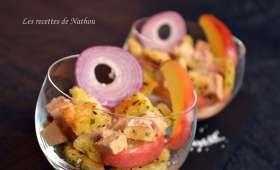 Verrines de foie gras aux pommes caramélisées et croûtons à l'estragon