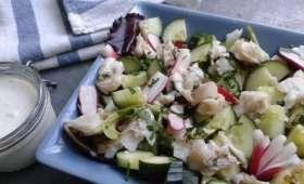 Salade marine, cabillaud, radis et concombre