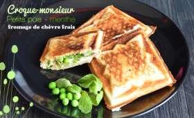 Croque-monsieur petits pois fromage frais menthe