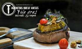 Plancha de tournedos de rôti bœuf angus façon Rossini aux cèpes