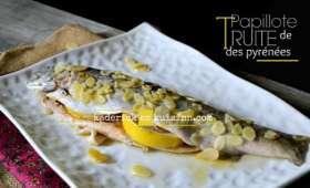 Papillote truite Pyrénées aux amandes, citron et aneth
