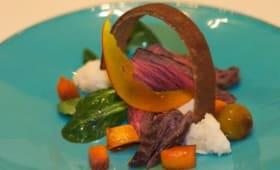 Bavette d'aloyau de rouge des Flandres, polenta blanche et butternut