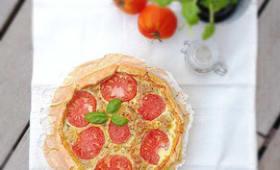 Tarte gourmande thon tomates basilic
