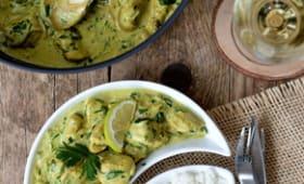 Poulet au lait de coco, curry et citron vert