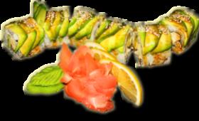 Salade de riz et poisson en forme de dragon des mers