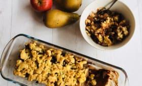 Crumble de pommes, poires et marrons au chocolat
