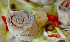 Roulé de galette au jambon et fromage à la spiruline