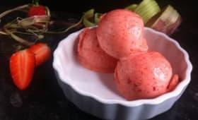Sorbet fraise-rhubarbe au Thermomix