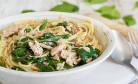 Spaghettis au thon et épinards