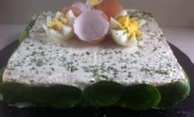 Sandwich cake oeufs thon mousseline maison