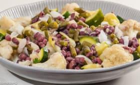 Salade de haricots azuki au chou fleur, haricots verts et courgettes