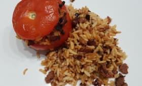 Tomates farcies riz paprika merguez