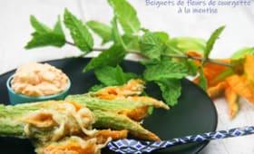Beignets de fleurs de courgette à la menthe