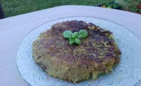 Crêpe de courgette-pomme de terre-oignon au curry sans oeuf