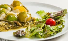Frittata aux haricots verts, olives et grana padano