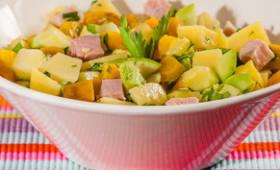 Salade de jambon blanc aux pommes de terre, carottes et courgettes