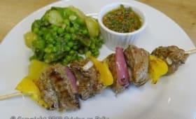Brochettes de boeuf marinade à la moutarde et à la marjolaine